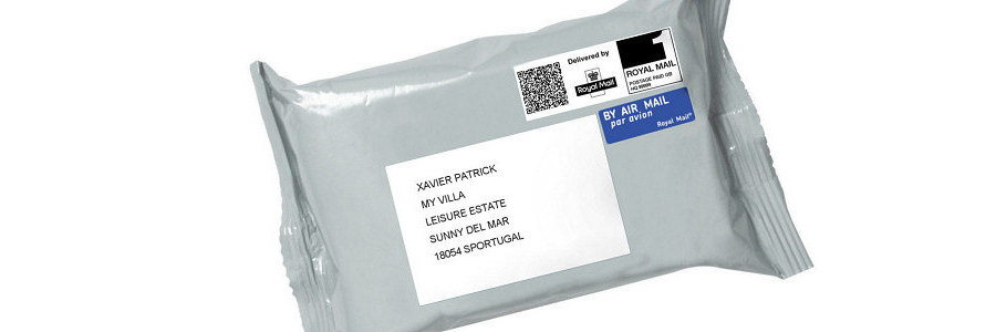Mail forwarding postal bag showing international address