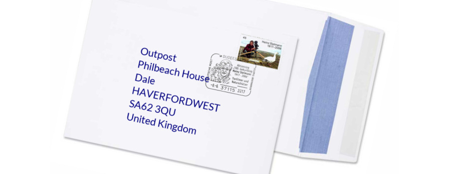 Envelope showing the outpost address in the West Midlands